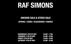 Raf Simons将于安特卫普举办样品售卖活动