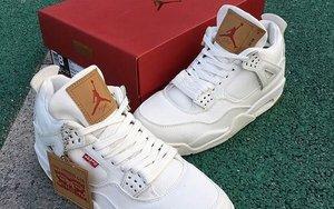 """或将本月发售!Levi's x Air Jordan 4 """"White Denim"""" 再释实物图!"""