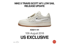 Travis Scott x Nike Air Force 1 新配色仅在美国地区发售?