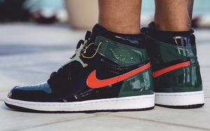 黑绿漆皮版本 SoleFly x Air Jordan 1 上脚近赏