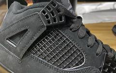 低调冷酷的黑魂气质!Air Jordan 4 复刻版黑猫配色实物细节曝光