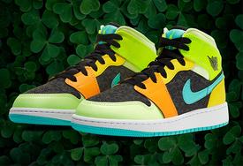 圣帕特里克节专属!反光三叶草 Air Jordan 1 Mid 你喜欢吗?