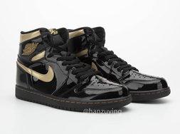 超酷炫的Air Jordan 1黑金漆皮,预计将于暑假发售