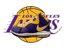 "实物首次曝光!全新 Nike LeBron 8 ""Lakers"" 下月发售!"