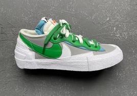 sacai x Nike Blazer Low 灰绿配色实物曝光!颜值依旧能打!