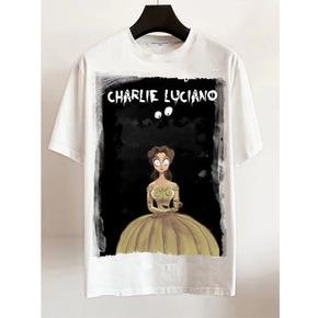明星同款Charlie Luciano 春夏新款 美女与野兽插画Tee 白色