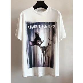 明星同款Charlie Luciano 春夏新款小鹿斑比插画Tee 白色