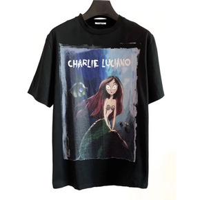 明星同款Charlie Luciano 春夏新款美人鱼插画Tee 黑色