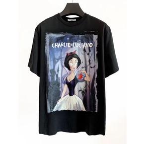 明星同款Charlie Luciano 春夏新款白雪公主插画Tee 黑色