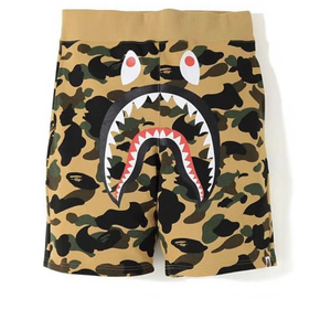 BAPE 2019新款 黄绿迷彩鲨鱼短裤 棉质
