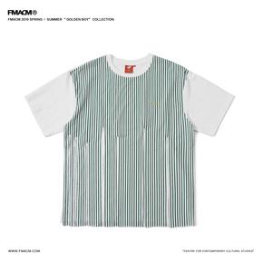 FMACM 2019SS 拼接刺绣精梳棉条纹短袖 分割设计宽松落肩T恤