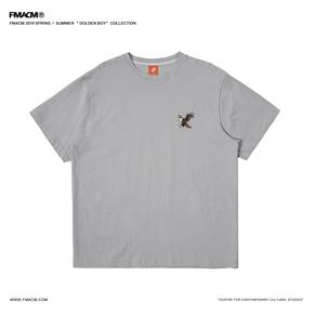 "FMACM2019SS""Golden boy""老鹰刺绣短袖复古纯色简约落肩宽松T恤"