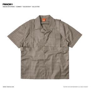 """FMACM 2019SS""""Golden boy""""背带格纹短袖衬衫 翻领休闲复古短袖"""