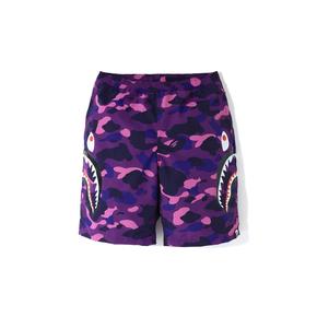 BAPE蓝紫红黑迷彩两侧鲨鱼沙滩短裤 男款