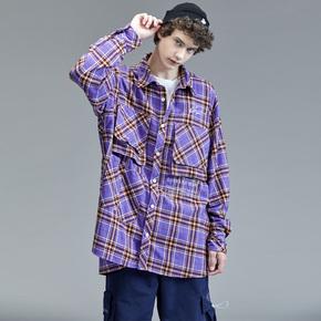 GUUKA潮牌格子衬衫男长袖 青少年嘻哈紫色纯棉休闲大口袋衬衫宽松