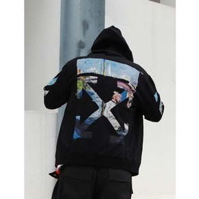 秒杀!OFF-WHITE C/O VIRGIL ABLOH 19SS 油画拉链帽衫