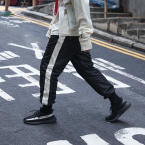 CHRROTA 17AW AN-CRS79 黑白撞色串标拼接织带束脚宽松运动裤