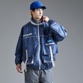 Guuka蓝色风衣男春秋 青少年多口袋飞行员教练夹克风衣外套男宽松