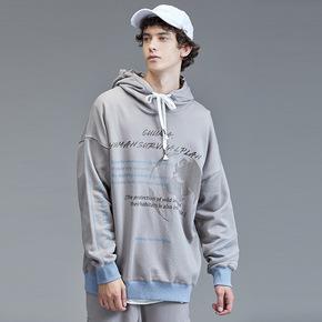 Guuka灰色连帽卫衣男潮牌 秋季学生嘻哈撞色纯棉印花运动卫衣宽松
