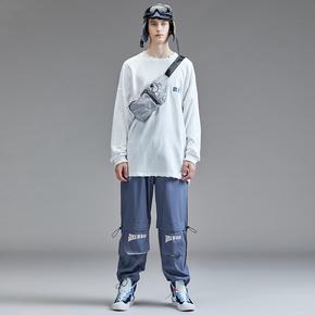Guuka蓝色抽绳束脚裤男潮牌 秋季青少年港风嘻哈垂感直筒裤男宽松