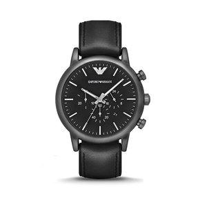 Armani阿玛尼男表黑色商务皮带手表男 时尚三眼石英表正品AR1970