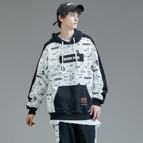 GUUKA&SANK联名黑白拼接卫衣男连帽嘻哈潮牌印花套头运动卫衣宽松