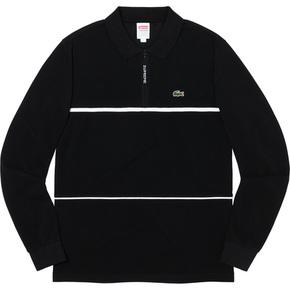 Supreme 19秋冬supreme/lacoste pique zip L/S polo