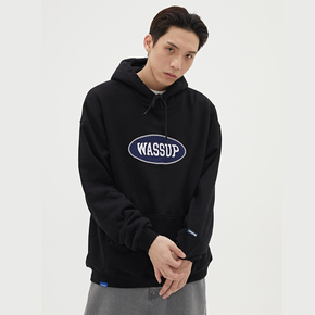 WASSUP新品2019秋冬季复古字体标语休闲加绒卫衣印花套头潮流上衣