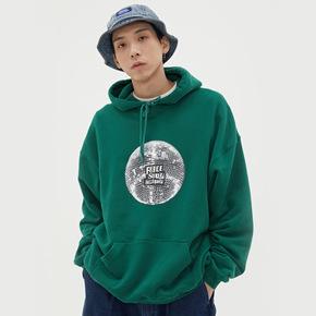 WASSUP秋季新品2019连帽套头水洗上衣个性创意disco印花休闲卫衣