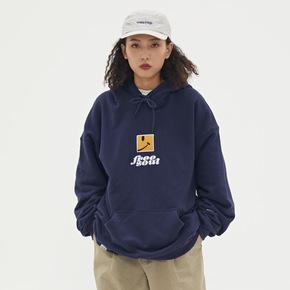 WASSUP2019秋季新品个性创意笑脸英文刺绣卫衣连帽水洗休闲卫衣