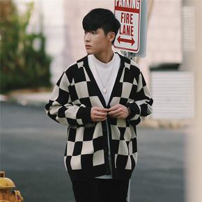 PSO Brand 19AW2 日系V领潮牌学院风宽松休闲保暖黑白格毛衣开衫