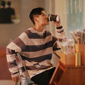 PSO Brand 19AW3 纯色条纹复古日系宽松百搭圆领套头针织男女毛衣