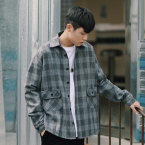 PSO Brand 19AW2 日系复古潮牌灰色格子衬衫港风情侣格纹衬衣外套