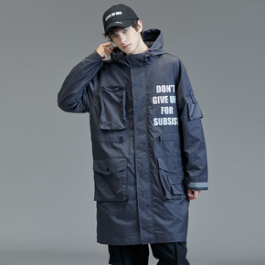 GUUKA潮牌深灰风衣男中长款 秋季青少年嘻哈多口袋防风衣外套宽松