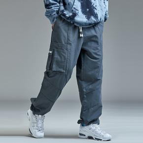 GUUKA嘻哈抽绳束脚裤男潮牌青少年ins多口袋直筒工装裤男收口宽松