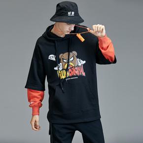 GUUKA潮牌假两件卫衣男连帽 青少年嘻哈卡通印花纯棉运动卫衣宽松