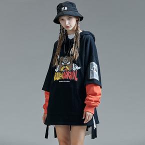 GUUKA潮牌黑色卫衣2019新款女嘻哈情侣动漫印花中长织带卫衣宽松