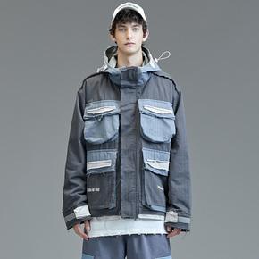 GUUKA潮牌拼接风衣男冬季 青少年嘻哈多口袋工装夹克风衣外套宽松