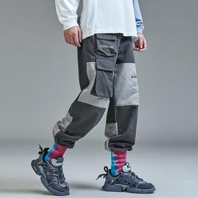 GUUKA潮牌撞色工装裤男直筒 青少年嘻哈运动多口袋抽绳束脚裤宽松
