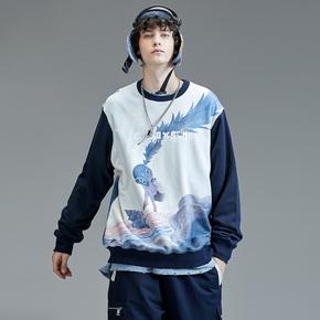 GUUKA&SANK藏克联名圆领卫衣 男女同款 潮牌嘻哈纯棉印花拼接运动卫衣宽松