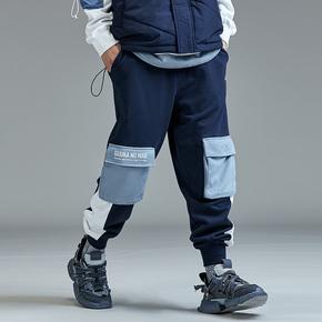 GUUKA蓝色拼接运动卫裤男潮牌 青少年嘻哈多口袋纯棉束脚卫裤宽松
