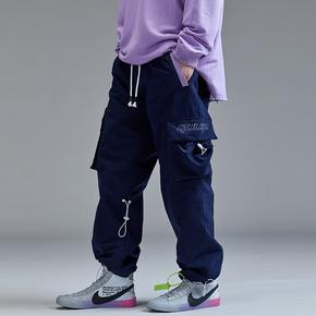 GUUKA蓝色直筒工装裤男潮牌 青少年嘻哈运动多口袋抽绳束脚裤宽松