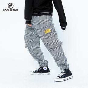Coolalpaca2019新款大口宽松格子休闲裤潮流束脚裤男女款