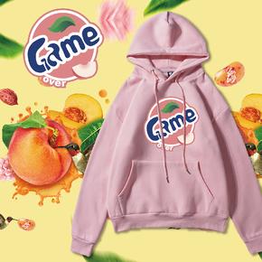 第二件半价!GZKHCOM水果加绒加厚卫衣情侣抖音水蜜桃青苹果柠檬葡萄西瓜橙子