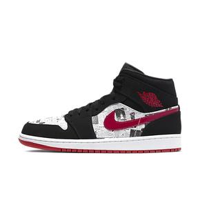 Air Jordan 1 Mid SE AJ1 黑红报纸 男中帮篮球鞋 852542-061