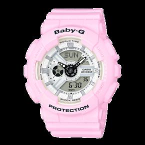 卡西欧手表 BABY-G粉嫩马卡龙色潮流运动女表BA-110BE