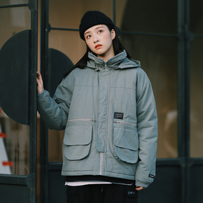 PSO Brand 19AW6 拉链口袋保暖舒适秋冬工装连帽工装棉衣外套男女