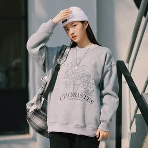 PSO Brand 19AW6合唱团印花圆领套头抓绒纯色舒适百搭潮牌卫衣男