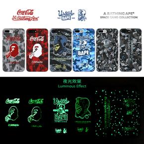 【定制】BAPE X 可口可乐 夜光硬壳 磨砂手机壳 for iPhone6/7/PLUS