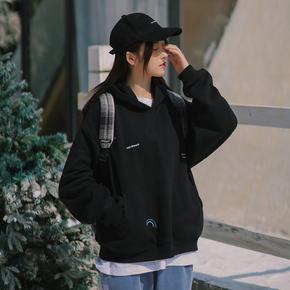 PSO Brand 19AW7 加绒保暖原创多重印花纯色连帽卫衣情侣装休闲男
